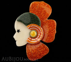 Lea Stein Corolle Art Deco Girl Petal Brooch Pin Sparkly Orange Green