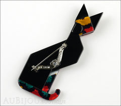 Lea Stein Deco Cat Brooch Pin Black Red White Back