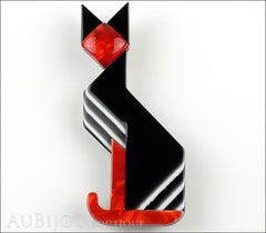 Lea Stein Deco Cat Brooch Pin Black Red White Front