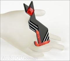 Lea Stein Deco Cat Brooch Pin Black Red White Mannequin