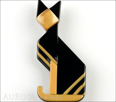 Lea Stein Deco Cat Brooch Pin Black Yellow Gold Gallery