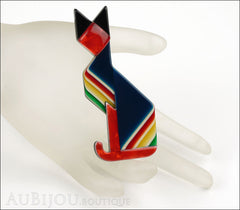 Lea Stein Deco Cat Brooch Pin Blue Red Yellow Mannequin