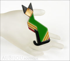 Lea Stein Deco Cat Brooch Pin Green Black Yellow Mannequin