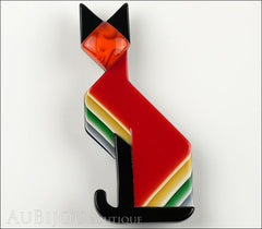 Lea Stein Deco Cat Brooch Pin Red Black Yellow Front