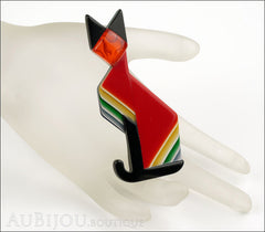Lea Stein Deco Cat Brooch Pin Red Black Yellow Mannequin