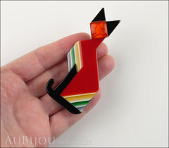 Lea Stein Deco Cat Brooch Pin Red Black Yellow Model