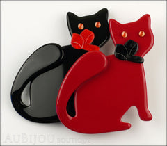 Lea Stein Double Watching Cat Brooch Pin Black Red Front