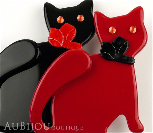 Lea Stein Double Watching Cat Brooch Pin Black Red Gallery