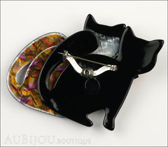 Lea Stein Double Watching Cat Brooch Pin Black Red Green Back