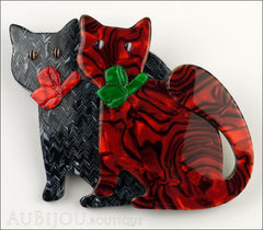 Lea Stein Double Watching Cat Brooch Pin Black Red Green Front