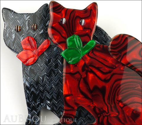 Lea Stein Double Watching Cat Brooch Pin Black Red Green Gallery