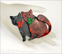 Lea Stein Double Watching Cat Brooch Pin Black Red Green Mannequin