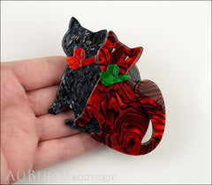 Lea Stein Double Watching Cat Brooch Pin Black Red Green Model