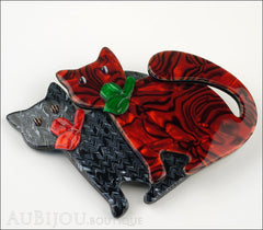 Lea Stein Double Watching Cat Brooch Pin Black Red Green Side
