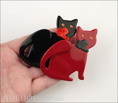 Lea Stein Double Watching Cat Brooch Pin Black Red Model