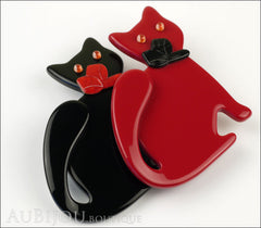 Lea Stein Double Watching Cat Brooch Pin Black Red Side