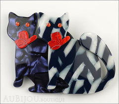 Lea Stein Double Watching Cat Brooch Pin Blue White Black Red Front