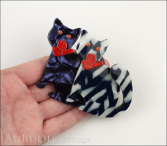 Lea Stein Double Watching Cat Brooch Pin Blue White Black Red Model