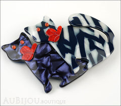 Lea Stein Double Watching Cat Brooch Pin Blue White Black Red Side