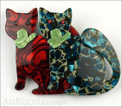 Lea Stein Double Watching Cat Brooch Pin Red Blue Green Front