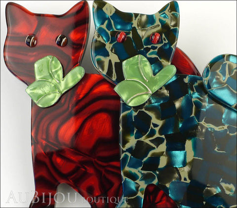 Lea Stein Double Watching Cat Brooch Pin Red Blue Green Gallery