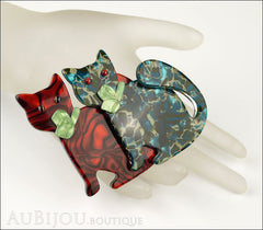 Lea Stein Double Watching Cat Brooch Pin Red Blue Green Mannequin