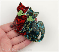 Lea Stein Double Watching Cat Brooch Pin Red Blue Green Model