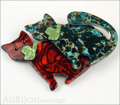 Lea Stein Double Watching Cat Brooch Pin Red Blue Green Side