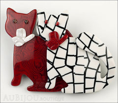 Lea Stein Double Watching Cat Brooch Pin Red White Black Front