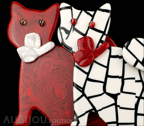 Lea Stein Double Watching Cat Brooch Pin Red White Black Gallery