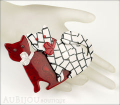 Lea Stein Double Watching Cat Brooch Pin Red White Black Mannequin