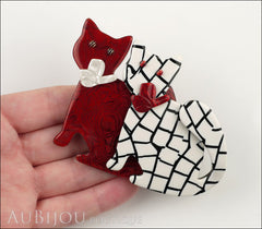 Lea Stein Double Watching Cat Brooch Pin Red White Black Model