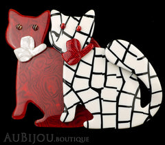 Lea Stein Double Watching Cat Brooch Pin Red White Black