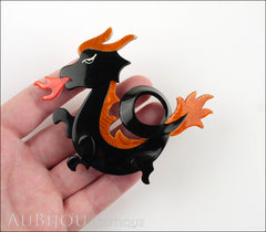 Lea Stein Dragon Brooch Pin Black Orange Red Model