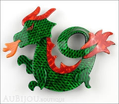 Lea Stein Dragon Brooch Pin Green Mesh Red Orange Front