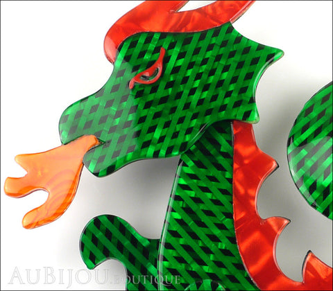 Lea Stein Dragon Brooch Pin Green Mesh Red Orange Gallery