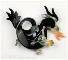 Lea Stein Dragon Brooch Pin Harlequin Black Orange Back