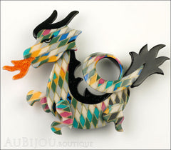 Lea Stein Dragon Brooch Pin Harlequin Black Orange Front