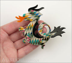 Lea Stein Dragon Brooch Pin Harlequin Black Orange Model