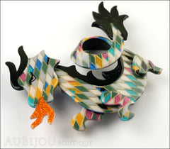 Lea Stein Dragon Brooch Pin Harlequin Black Orange Side