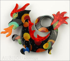 Lea Stein Dragon Brooch Pin Multicolor Red Orange Front
