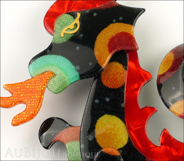 Lea Stein Dragon Brooch Pin Multicolor Red Orange Gallery