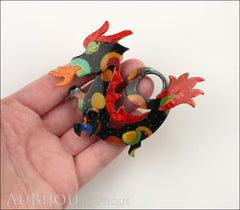 Lea Stein Dragon Brooch Pin Multicolor Red Orange Model