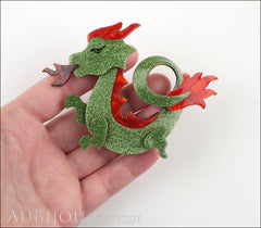 Lea Stein Dragon Brooch Pin Sparkly Green Red Model