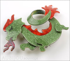 Lea Stein Dragon Brooch Pin Sparkly Green Red Side