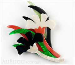 Lea Stein Edelveis Flower Double Brooch Pin Black White Green Orange Front