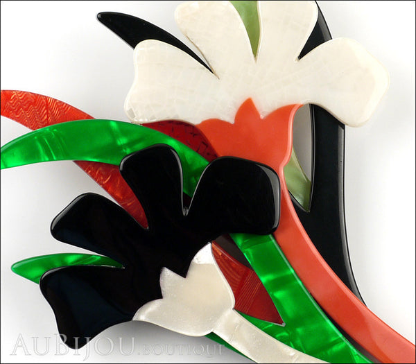 Lea Stein Edelveis Flower Double Brooch Pin Black White Green Orange Gallery