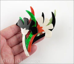 Lea Stein Edelveis Flower Double Brooch Pin Black White Green Orange Model