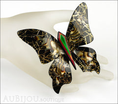 Lea Stein Elfe The Butterfly Insect Brooch Pin Black Gold Abalon Green Mannequin