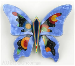 Lea Stein Elfe The Butterfly Insect Brooch Pin Blue Celestial Multicolor Front